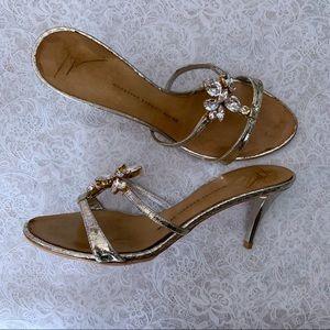 Giuseppe Zanotti Silver Embellished Heels Size 38